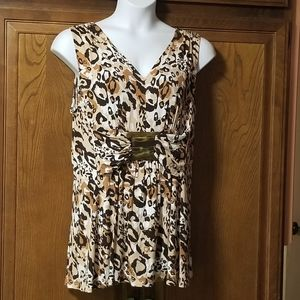 Smart Animal Print Sleeveless Tunic